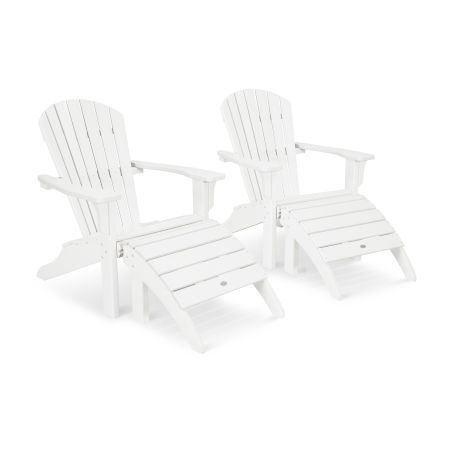 Seashell Adirondack Set with Ottomans in White