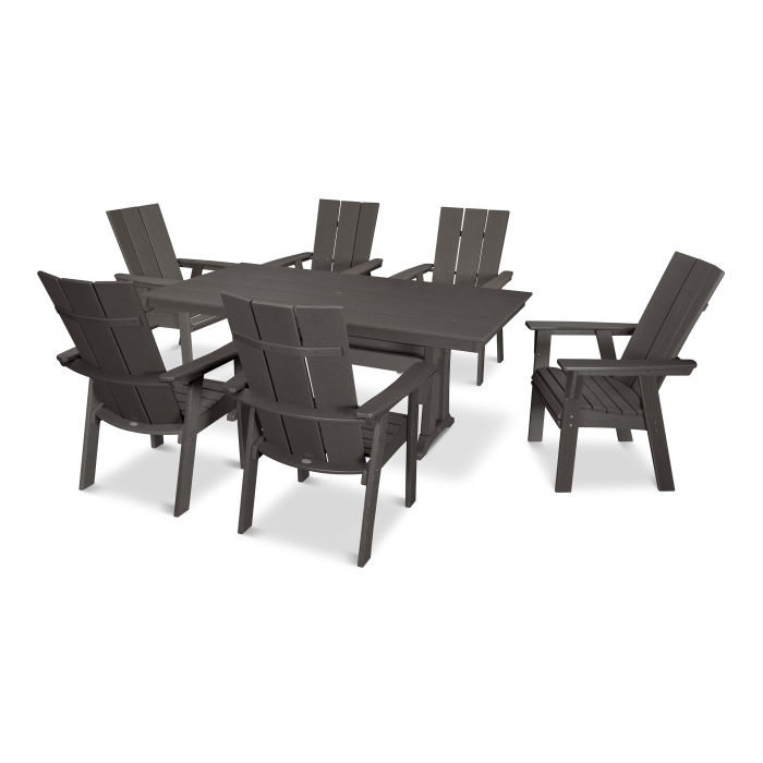 Modern Curveback Adirondack 7-Piece Farmhouse Trestle Dining Set in Vintage Finish