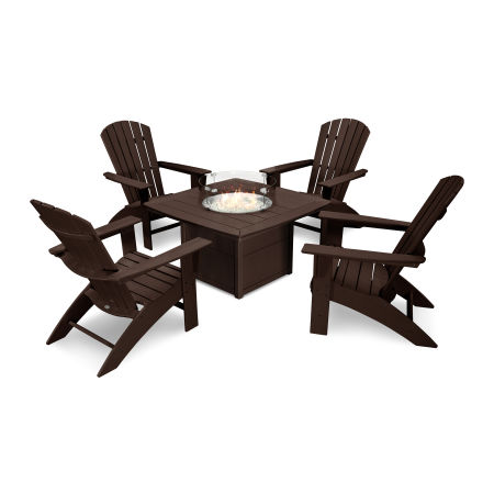 Nautical Curveback Adirondack 5-Piece Conversation Set with Fire Table in Mahogany