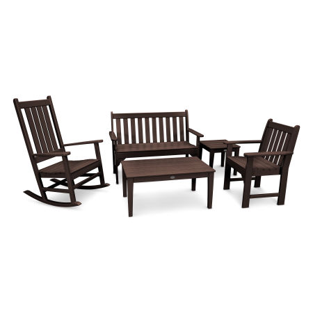 Vineyard 5-Piece Bench & Rocking Chair Set in Mahogany