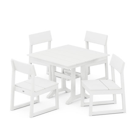 EDGE 5-Piece Farmhouse Trestle Side Chair Dining Set in White