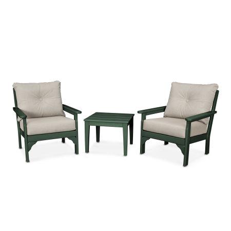 Vineyard 3-Piece Deep Seating Set in Green / Cast Ash