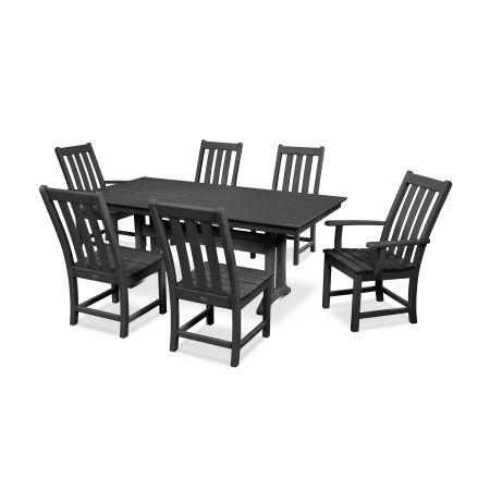 Vineyard 7-Piece Farmhouse Dining Set in Black