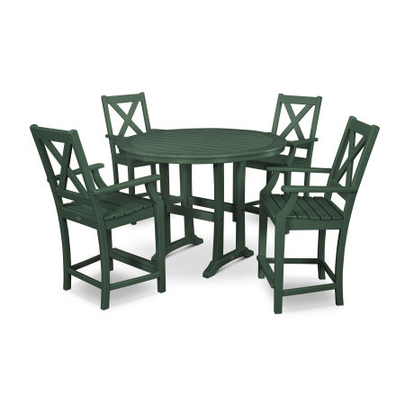 Braxton 5-Piece Nautical Trestle Arm Chair Counter Set in Green