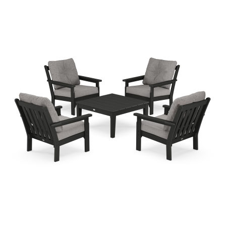 Vineyard 5-Piece Deep Seating Conversation Set in Black / Grey Mist