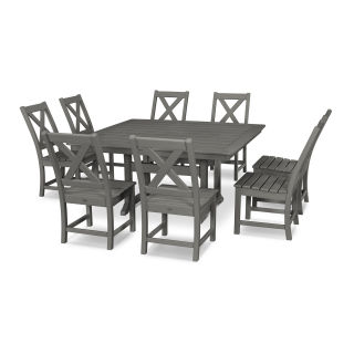 Braxton 9-Piece Nautical Trestle Dining Set