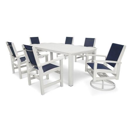 Coastal 7-Piece Harvest Swivel Dining Set in Satin White / White / Navy Blue Sling