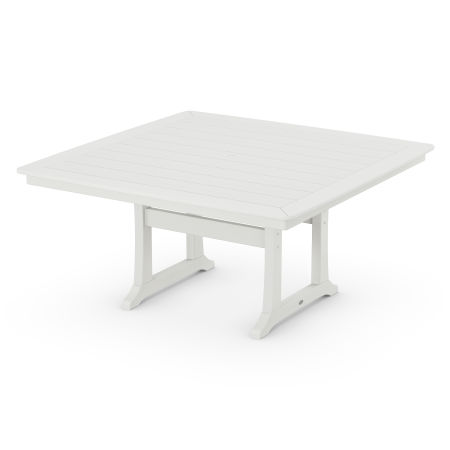 """Nautical Trestle 59"""" Dining Table in Vintage White"""
