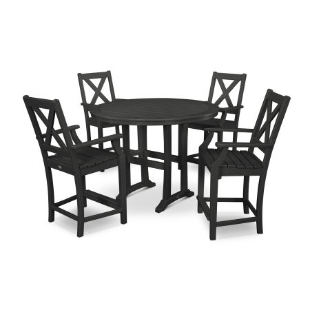 Braxton 5-Piece Nautical Trestle Arm Chair Counter Set in Black