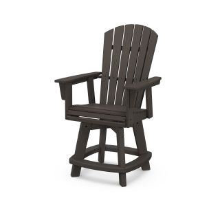 Nautical Curveback Adirondack Swivel Counter Chair in Vintage Finish