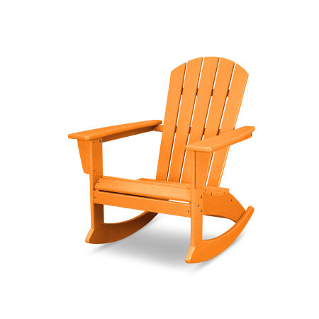 Nautical Adirondack Rocking Chair in Vintage Tangerine