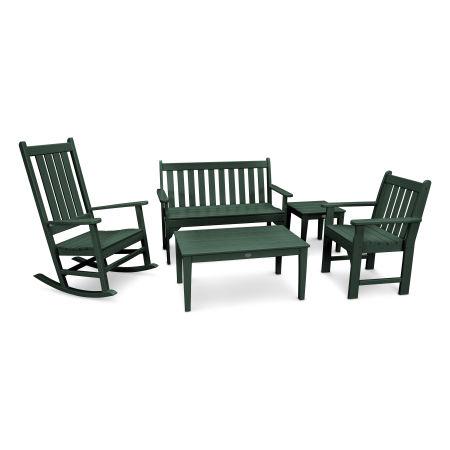 Vineyard 5-Piece Bench & Rocking Chair Set in Green