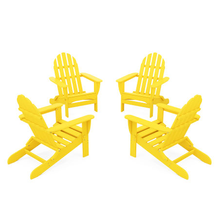 4-Piece Classic Folding Adirondack Conversation Set in Lemon