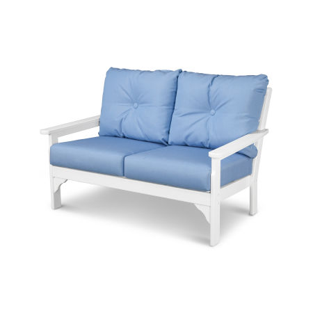 Vineyard Deep Seating Settee in White / Air Blue