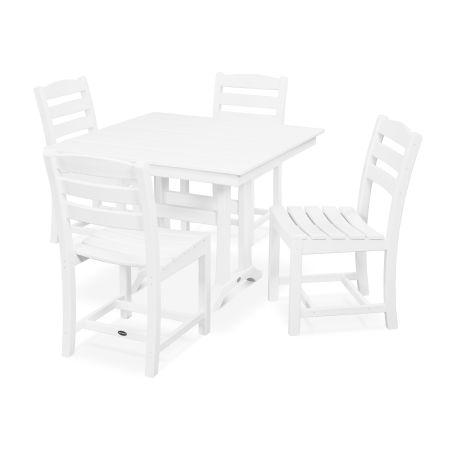 La Casa Café 5-Piece Farmhouse Trestle Side Chair Dining Set in White