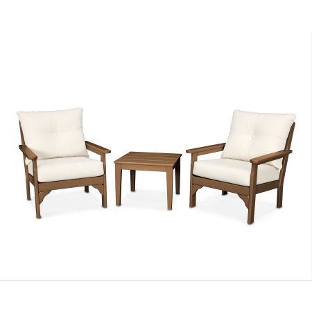 Vineyard 3-Piece Deep Seating Set in Teak / Antique Beige