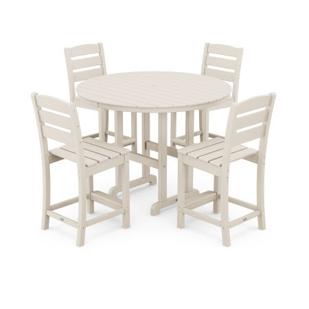 Lakeside 5-Piece Round Counter Side Chair Set in Sand