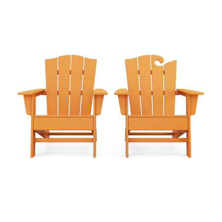 Wave 2-Piece Adirondack Chair Set with The Crest Chair in Tangerine