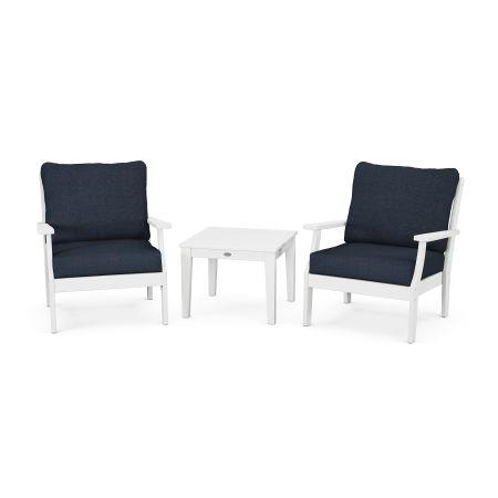 Braxton 3-Piece Deep Seating Set in White / Marine Indigo