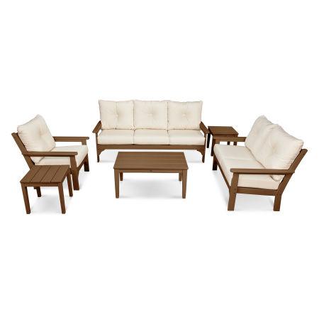 Vineyard 6-Piece Deep Seating Set in Teak / Antique Beige