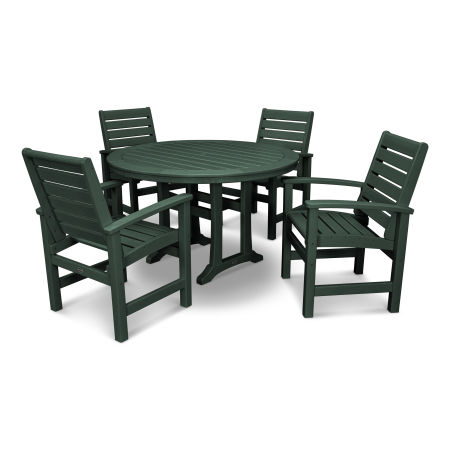 Signature 5-Piece Nautical Trestle Dining Set in Green