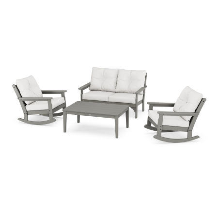 Vineyard 4-Piece Deep Seating Rocking Chair Set in Slate Grey / Natural Linen