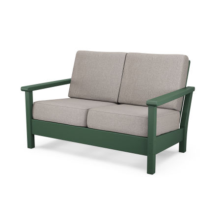 Harbour Deep Seating Settee in Green / Weathered Tweed