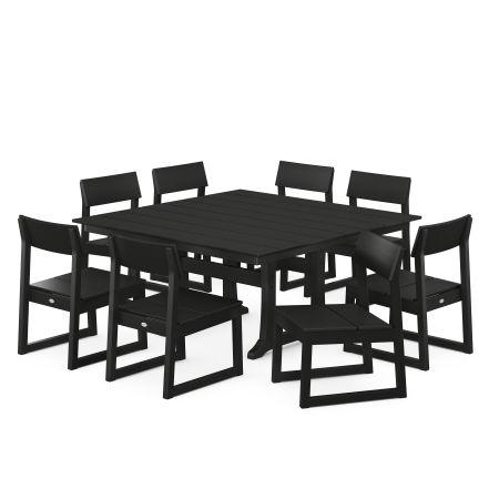 EDGE 9-Piece Farmhouse Trestle Dining Set in Black