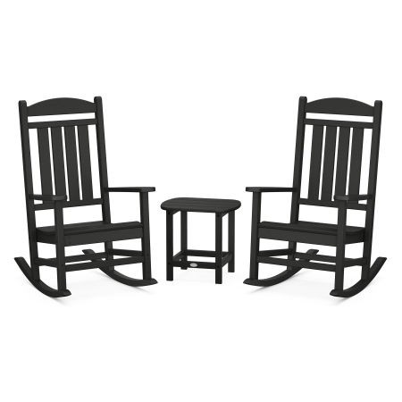 Presidential Rocking Chair 3-Piece Set in Black