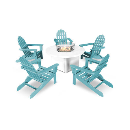 Classic Folding Adirondack 6-Piece Conversation Set with Fire Pit Table in Aruba