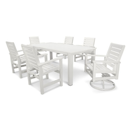 Signature 7-Piece Harvest Swivel Dining Set in Satin White / White