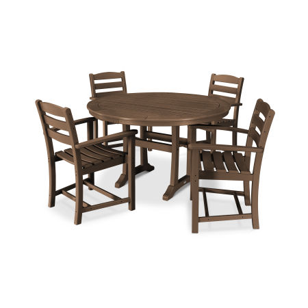 La Casa Café 5 Piece Arm Chair Dining Set in Teak