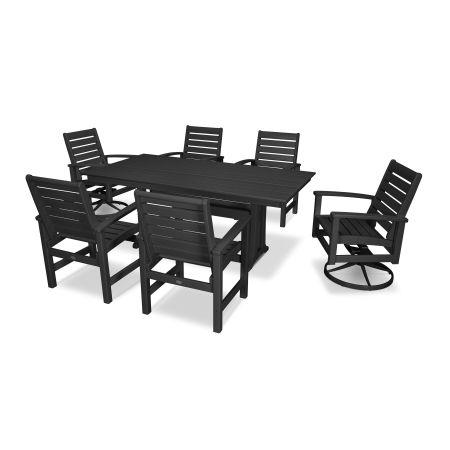 Signature 7 Piece Dining Set in Textured Black / Black