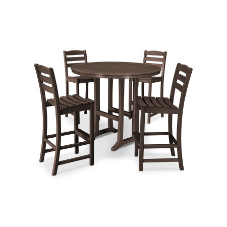 La Casa Café 5 Piece Side Chair Bar Dining Set in Mahogany