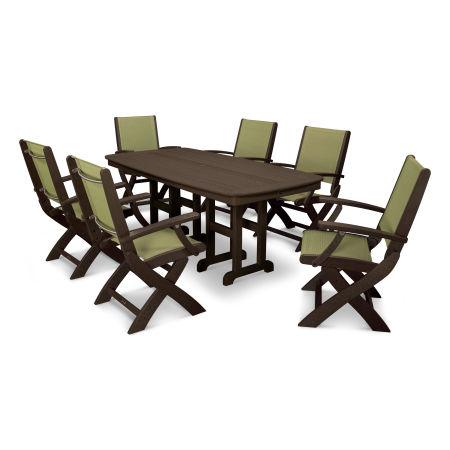 Coastal 7-Piece Dining Set in Mahogany / Kiwi Sling