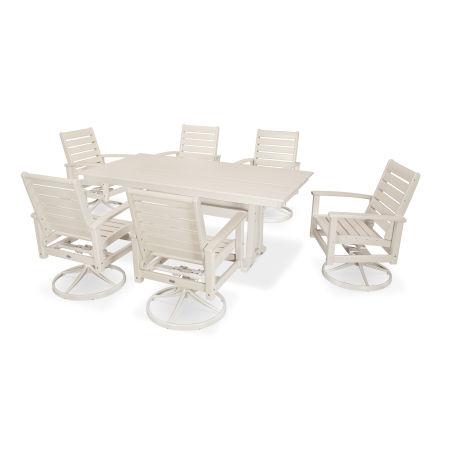 7 Piece Signature Swivel Rocking Chair Dining Set in Satin Tan / Sand