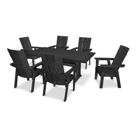 Modern Adirondack 7-Piece Farmhouse Dining Set in Black