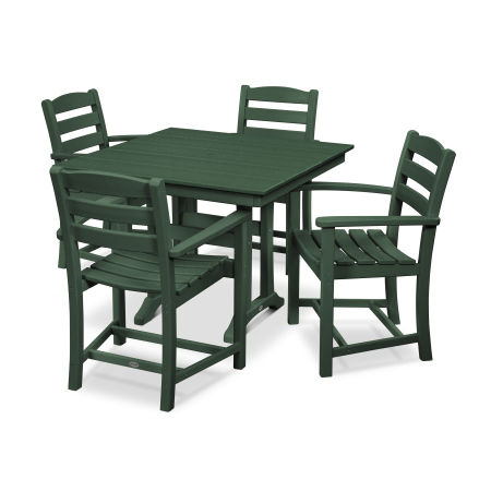 La Casa Café 5-Piece Farmhouse Arm Chair Dining Set in Green