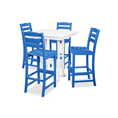 La Casa Café 5-Piece Farmhouse Bar Set in Pacific Blue / White