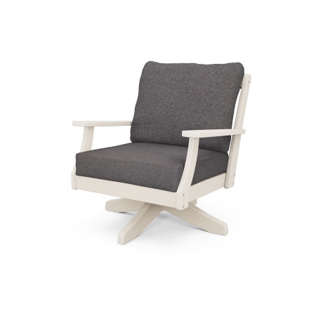 Braxton Deep Seating Swivel Chair in Sand / Ash Charcoal