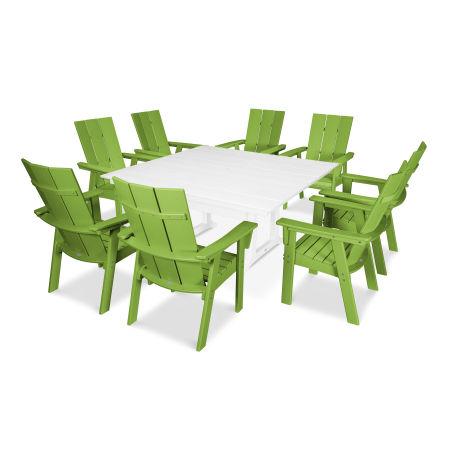 Modern Adirondack 9-Piece Farmhouse Dining Set in Lime / White