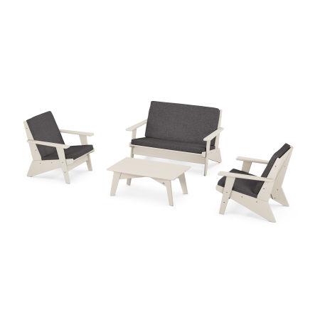 Riviera Modern Lounge 4-Piece Set in Sand / Antler Charcoal
