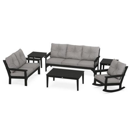 Vineyard 6-Piece Deep Seating Set in Black / Grey Mist