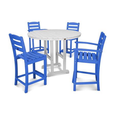 La Casa Café 5-Piece Counter Dining Set in Pacific Blue