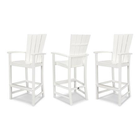 Quattro 3-Piece Bar Set in White