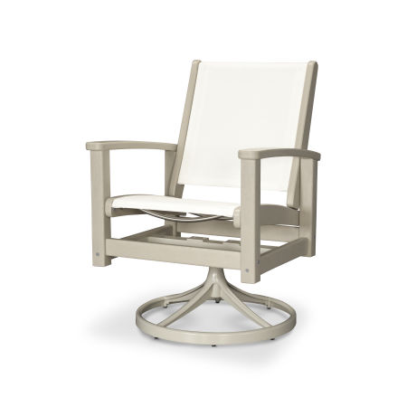 Coastal Swivel Rocking Chair in Satin Tan / Sand / White Sling