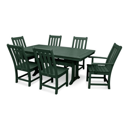 Vineyard 7-Piece Nautical Trestle Dining Set in Green