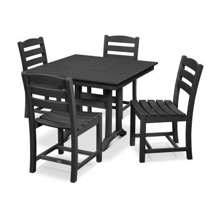La Casa Café 5-Piece Farmhouse Side Chair Dining Set in Black