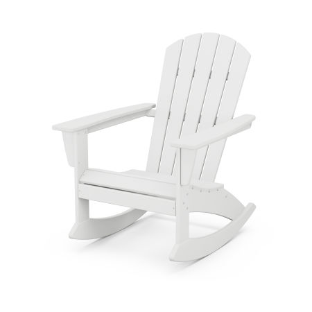 Nautical Adirondack Rocking Chair in White