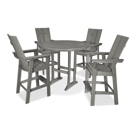 Modern Curveback Adirondack 5-Piece Nautical Trestle Bar Set